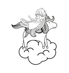 line sleeping girl with beauty unicorn in the vector image