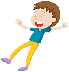 Little boy in blue shirt laughing vector image