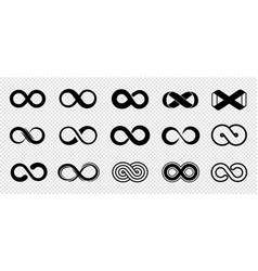 loop symbols infinity icons set black vector image
