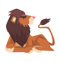 lying powerful lion mammal jungle animal vector image
