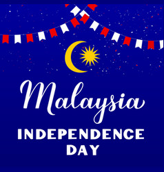 malaysia independence day calligraphy hand vector image