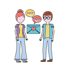 man and woman mail romantic love message vector image