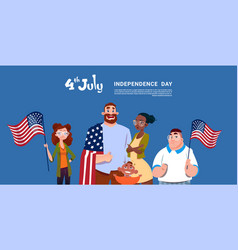 mix race people hold united states flag vector image