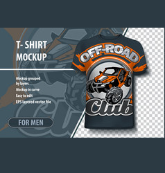 Mock-up t-shirts with logo utv buggy off vector