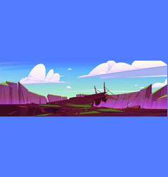 Mountain landscape with wooden suspension bridge vector