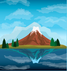 nature mountain landscape background vector image