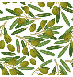 olive branch seamless pattern greek olives vector image
