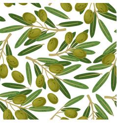 olive branch seamless pattern greek olives vector image