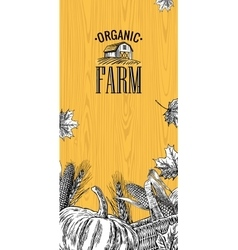 Organic farm with leaves pumpkin corn cob ear vector image