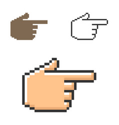 pixel icon hand with forefinger pointing vector image