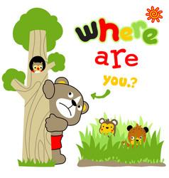 Playing hide and seek with cute animals cartoon vector