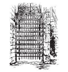 Portcullis place vintage engraving vector