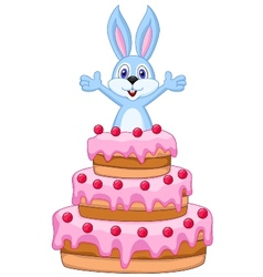 Rabbit inside the cake - birthday card vector image