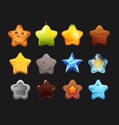 rate stars cartoon set game interface ui or gui vector image