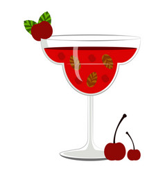 red cocktail with cherries vector image