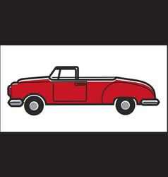 Red colored retro car vector