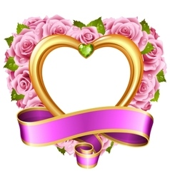 Rose frame in the shape of heart vector