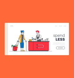 Sale consumerism landing page template senior vector