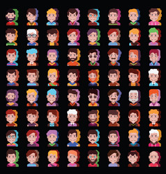 Set 64 high quality avatar icons in black vector
