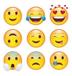 Set emoticons emoji smile icons vector