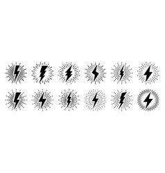 set vintage lightning bolts and sun rays vector image
