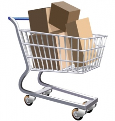 shopping cart full of parcels vector image