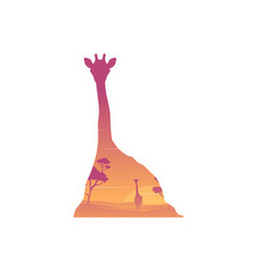 silhouette of inside giraffe at sunrise landscape vector image