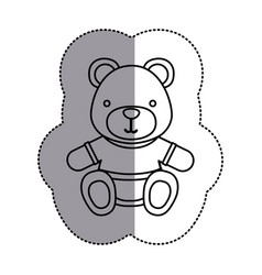 Silhouette teddy bear with shirt icon vector
