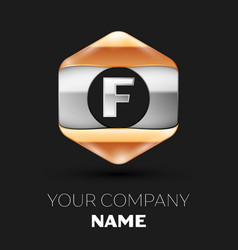 Silver letter f logo in silver-golden hexagonal vector