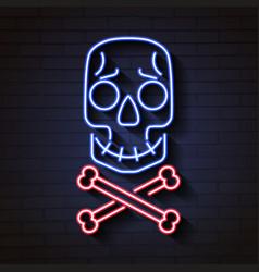 skull and bones neon signskull and bones neon vector image