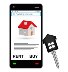smartphone with house finding application vector image