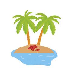 Summer coastline scene with palms and starfish vector