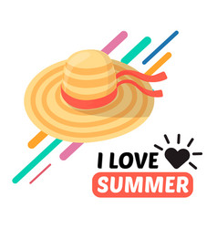Summer women hat and text vector