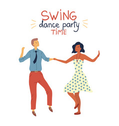 Swing dance party time concept cool pretty couple vector