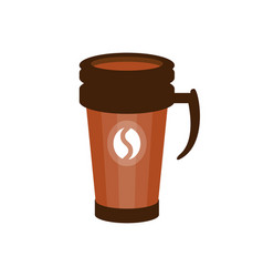 Takeout coffee in a brown thermo cup vector