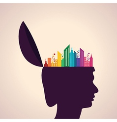 Thinking concept-Human head with colorful building vector image