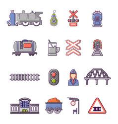 train railroad icons set cartoon style vector image