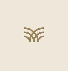 universal linear logo design creative bull horns vector image
