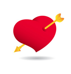 valentine day a heart with an gold arrow cupid vector image