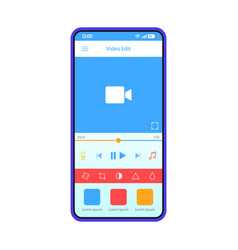 Video editing smartphone app interface template vector