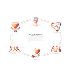 Volunteering - charity together community vector