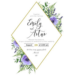 wedding floral invite save date card vector image