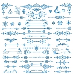 Winter decorDivider bordesChristmasNew Year set vector image