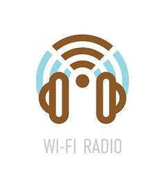 Wireless internet radio logo template with vector