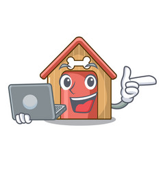 with laptop cartoon funny dog house with dish vector image