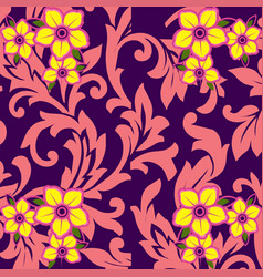 Yellow flower with pink leaf purple background vector
