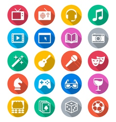Entertainment flat color icons vector image