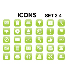 green rounded square icons vector image vector image