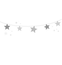 merry christmas background with silver stars vector image vector image