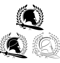 set of ancient helmets with swords vector image vector image